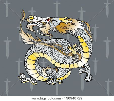 Majestic white metal Asian Chinese dragon against silver swords