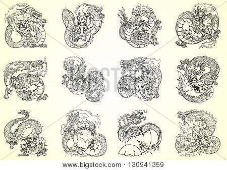 Set 12 Asian dragon black contour on white background