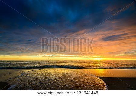 Fishing boats at dramatic sunset, South Australia