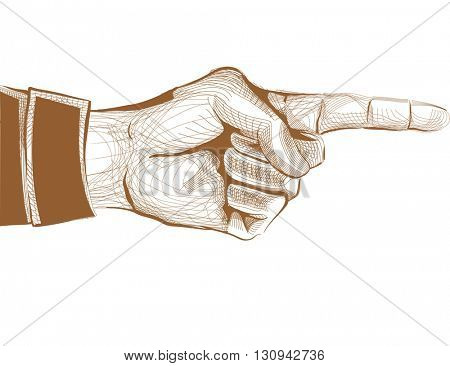 Illustration of a Hand with the Index Finger Pointing Sidewards