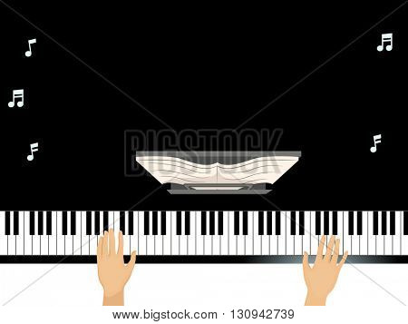 Illustration of a Man Using a Grand Piano Background