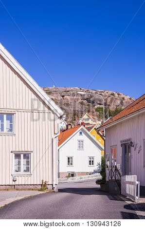 Residential houses in the village of Fjallbacka in Bohuslan county Sweden being famous by the crime stories of the Swedish authoress Camilla Lackberg.