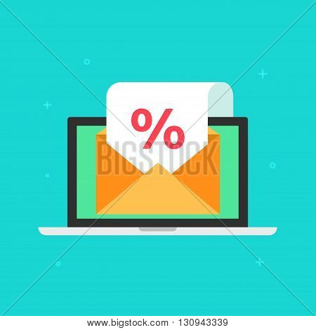 Newsletter email sale promotion vector concept, laptop with open envelope and white paper document sheet with discount announcement, e-mail marketing, email message cartoon flat