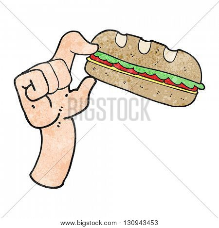 freehand textured cartoon sub sandwich