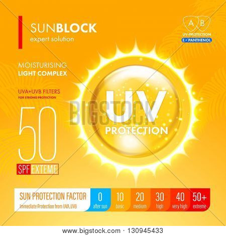 Sunblock SPF gold oil drop strong protection. UV sun protection solution suncare design. SPF gradation infographic.