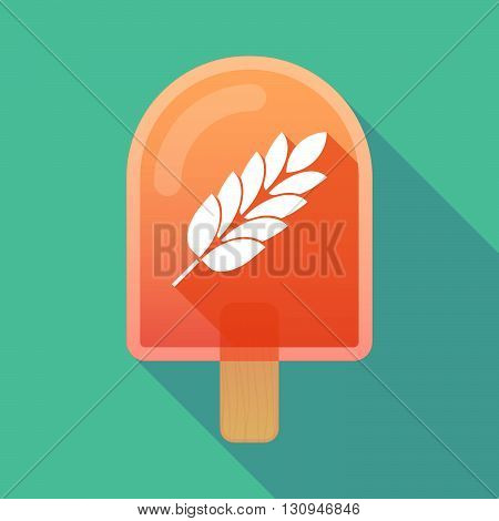 Long Shadow Ice Cream Icon With  A Wheat Plant Icon