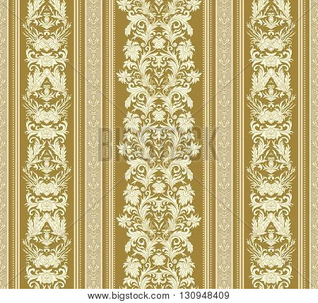 Seamless vintage background. Royal renaissance striped wallpaper. Vector background for textile design.  Wallpaper, background, baroque pattern. White on beige backdrop.