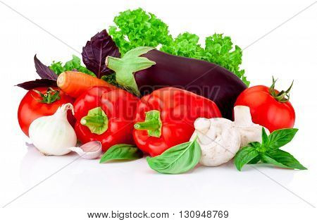 Fresh raw vegetables isolated on a white background