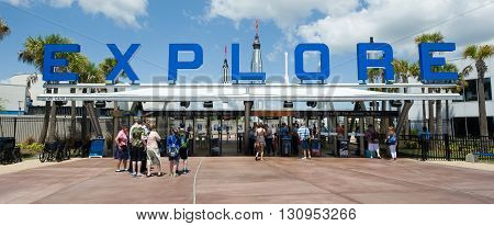 KENNEDY SPACE CENTER FLORIDA USA - APRIL 27 2016: The entrance of the visitor complex of Kennedy Space Center near Cape Canaveral in Florida