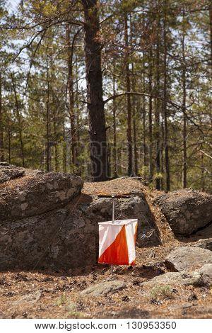 Control point symbol in orienteering sport. Orienteering concept