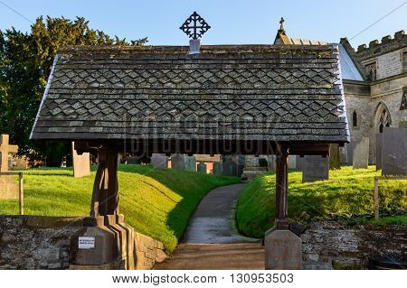 WYMESWOLD ENGLAND - JANUARY 15: The lychgate standing at the main entrance to St Mary's church. In Wymeswold England on 15th January 2016.