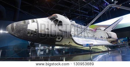 KENNEDY SPACE CENTER FLORIDA USA - APRIL 27 2016: Space Shuttle Atlantis which is exhibited at the visitor complex of Kennedy Space Center