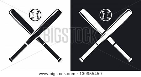 Vector baseball bats and ball icon. Two-tone version on black and white background