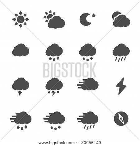 Meteo flat gray icons set of 16