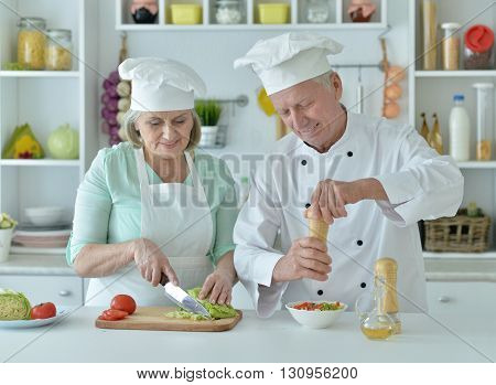 Portrait of a senior couple at kitchen  cooking