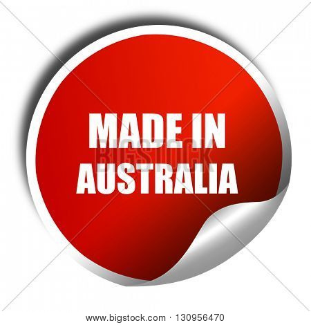 Made in australia, 3D rendering, red sticker with white text