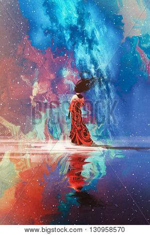 woman in dress standing on water against Universe filled with stars, illustration