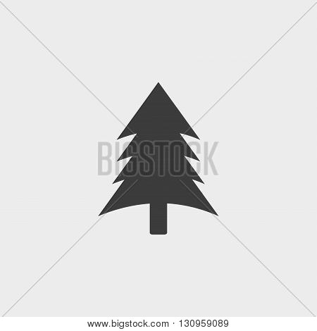 Spruce christmas tree icon in a flat design in black color. Vector illustration eps10