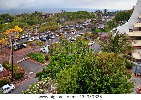 Big Island, USA - 12 MAY, 2007: View of the parking lot of the hotel Royal Kona Resort in Kailua-Kona, Big Island, Hawaii, USA