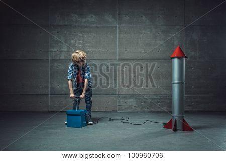 Boy with detonate in studio