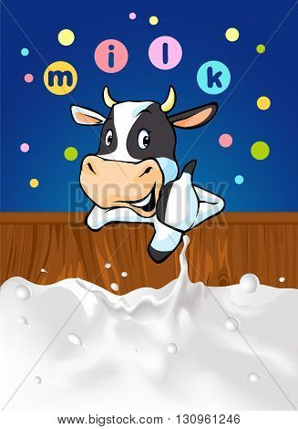 funny design with cow recommending great milk - vector illustration with cow cartoon milk splash and colorful dotted design with milk logo