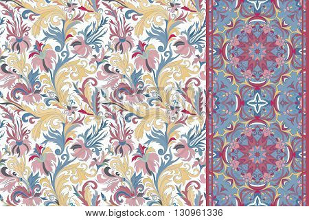 Seamless floral patterns set. Vintage hand drawing flowers backgrounds and borders. Vector ornaments. Pastel blue vinous beige tone.