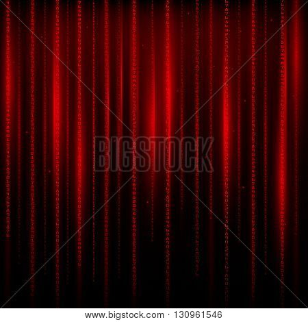 Matrix an abstract background the movement of vertical figures on a red background.