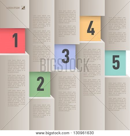 Paper style infographics with colored numbered items from one to five