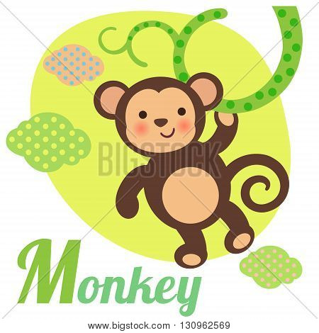 Cute animal alphabet for ABC book. Vector illustration of cartoon monkey. M letter for the Monkey