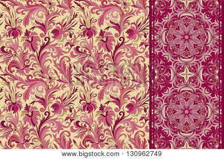 Set of seamless floral pattern and border for design. Hand draw vector Illustration. Seamless background with flowers. Royal vinous and golden tone.