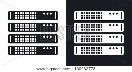 Vector server rack icon. Two-tone version on black and white background