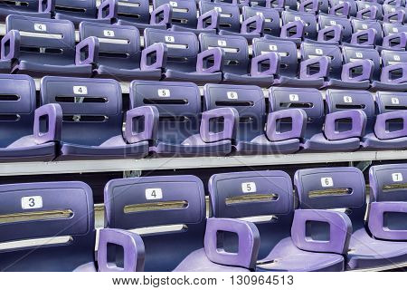 Purple Stadium Seats Angle View at an outdoor sports arena