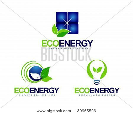 Green Energy Logo. Creative vector logo design with green energy concept icons.