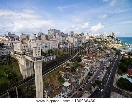 Aerial view of Salvador City and Lacerda Elevator in Bahia, Brazil