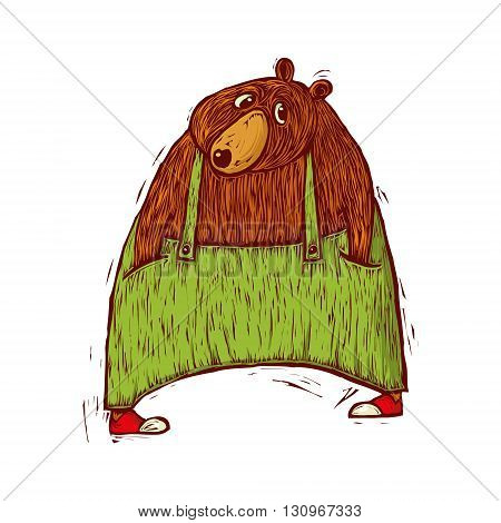 vector illustration of bear in green trousers