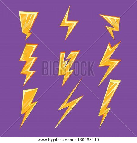Lightening Bolt Set Of Flat Simple Bright Color Design Vector Drawings Isolated On Dark Background