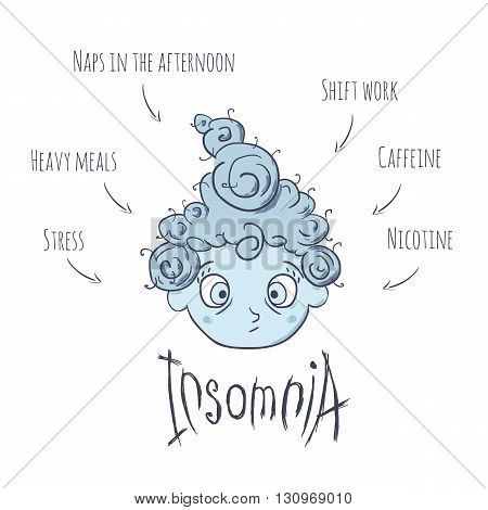 Causes of insomnia. Disease infographics. Vector illustration isolated on white. Sweet doodle girl suffering form insomnia.