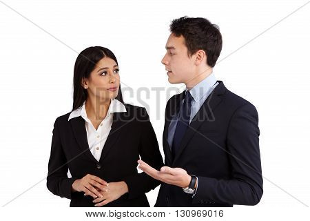 Young Caucasian Business Man Having Conversation With Business Woman