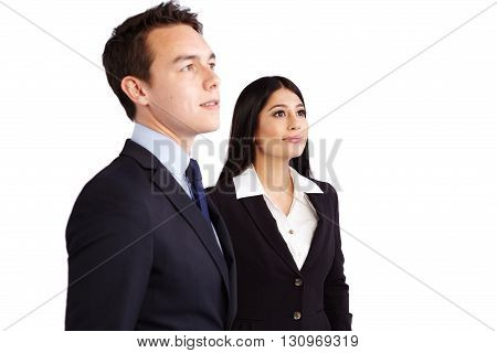 Young Male Business Man And Female Business Woman Standing Together Smiling