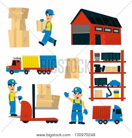 Set Of Illustrations With Storehouse Workers In Simplified Flat Vector Design On White Background