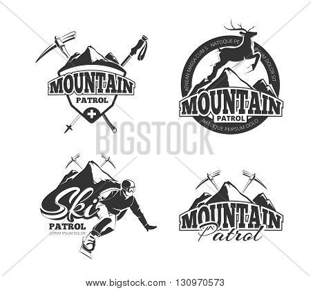 Vintage ski mountain patrol vector emblems, labels, badges, logos set. Badge mountain patrol,  winter mountain patrol, label mountain patrol, emblem mountain patrol illustration