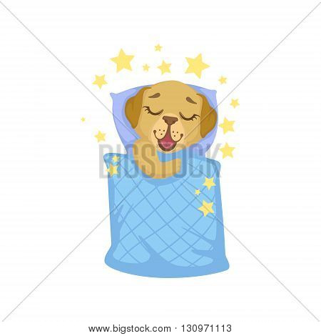 Puppy Sleeping In Bed Colorful Illustration In Cute Girly Cartoon Style Isolated On White Background