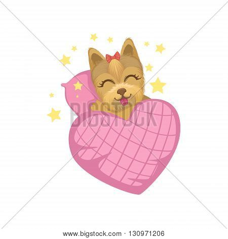 Puppy In Bed With Heart Shape Blanket Colorful Illustration In Cute Girly Cartoon Style Isolated On White Background