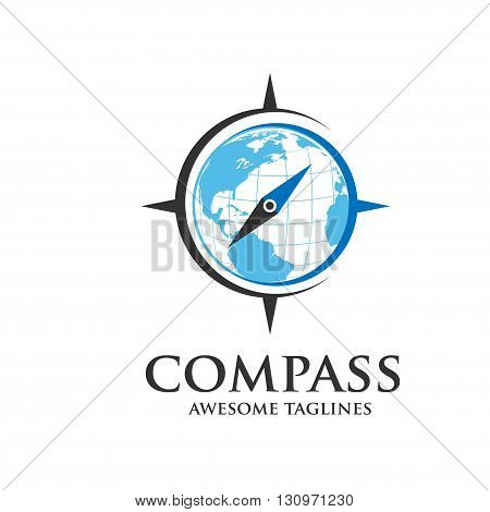 Compass nd map Vector Logo Design Template. Modern Concept For Travel, Tourism,