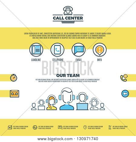 Call center support, customer service. Vector web page design template. Support call service, internet call  support center, information support call illustration