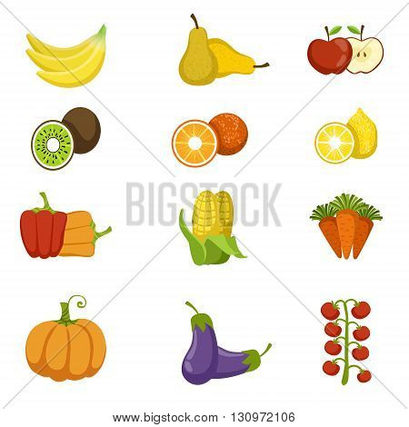 Fresh Fruits And Vegetables Icon Set Of Bright Color Cartoon Childish Style Flat Vector Drawings Isolated On White Background