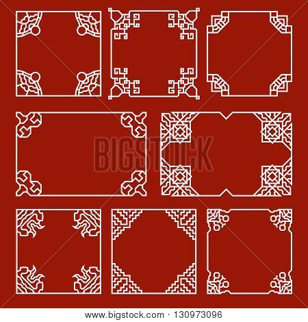 Chinese decorative frames and borders vector set. Border chinese, frame chinese, decoration chinese pattern illustration