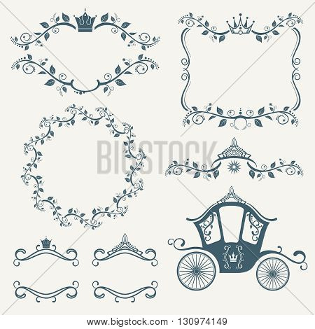 Vintage royalty frames with crown, diadems, carriages vector set.  Frame with crown, floral frame decoration, vintage frame royalty illustration