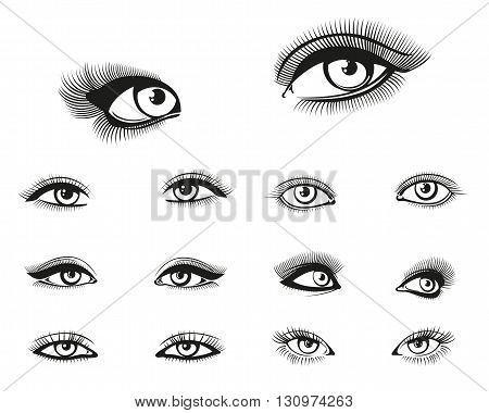 Vector woman eyes set. Eye woman, girl eye beauty, makeup eye illustration