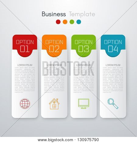 Stock vector business infographics. Minimal colorful numbered banners for diagram, graph, report, presentation, chart, web design. 4 options, stages